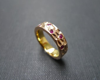 Ruby Wedding Hammered Ring in 14K Gold
