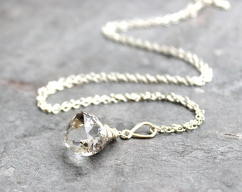 Crystal Necklace Quartz Jewelry Trilliant Faceted Briolette Sterling Silver Pendant Necklace Clear Crystal Quartz Stone