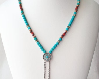 Southwest Style Necklace, Native American Inspired Necklace, Turquoise Beaded Jewelry, Tribal Boho Chic Style Jewelry