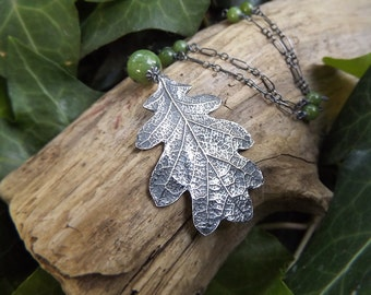Quercus - Oak Leaf with British Columbia Jade - Fine Silver Botanical Necklace -Recycled Eco-Friendly Silver-  by Quintessential Arts