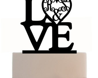 Custom Wedding Cake Topper LOVE Monogram For Wedding or Birthday Personalized with your initials, choice of color