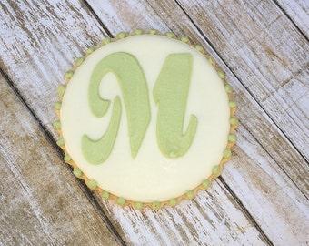 Monogram Wedding Cookie Favor, Decorated Anniversary Favor, Personalized Cookie Favors - 1 dozen