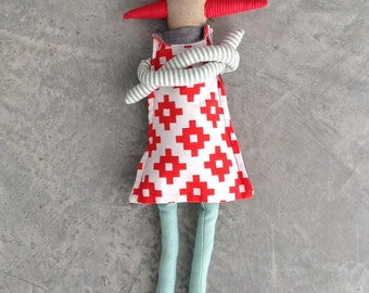 Softie eco unique toy , stuffed doll - natural canvas rag doll- handmade cloth doll in red spikes crown,Geometric Retro Dress & Mint tights