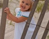 Girls Monogrammed White Seersucker Dress, White Seersucker Dress, Monogrammed Dresses, Perfect for Beach Photos
