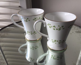 Royal Tara Tea Cups with Trellis Shamrock Pattern, Fine Bone China