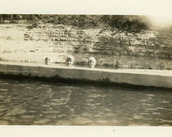 "Vintage Photo ""Shy Swimmers"" Swimming Weird Unusual Snapshot Photo Old Antique Black & White Photograph Found Paper Ephemera Vernacular - 73"