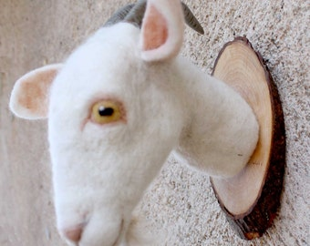 needle felted  goat head style faux taxidermy by feltfactory/fauxfauna
