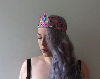 bright, multicoloured pink leather and crystal crown / tiara