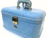 Vintage Train Case, Blue Luggage, Stratosphere Make up Bag, Carry On Suitcase, Overnight Bag