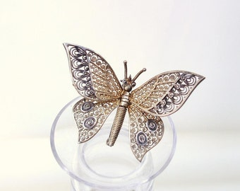 Sterling Silver Butterfly Brooch / Sterling Alice Caviness, Tremblant Quiver Pin, Kinetic Jewelry, Vintage Marcasite Pin