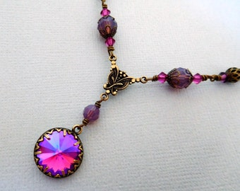 Fuchsia purple crystal necklace, rhinestone pendant, antique brass filigree beads, made with Swarovski Elements, vintage style brass jewelry