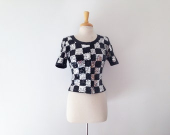 1980s adrienne vittadini sequin embellished checkered evening sweater top, size small