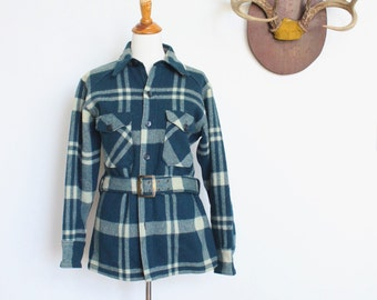 Vintage Woolrich Jacket // Plaid Wool Shirt // Men's Small Womens Medium // Plaid Coat