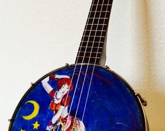 Vintage Sexy Lady Painted On A Slingerland Maybelle BANJO UKULELE banjolele Uke Regal pre war Dancer
