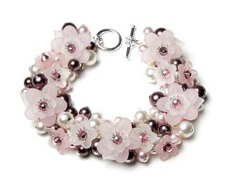 Pink Flower Swarovski Crystal And Wine Pearl Silver Charm Bracelet, Burgundy Bridal Jewelry, Pearl Cluster Bracelet, Romantic Vintage Floral