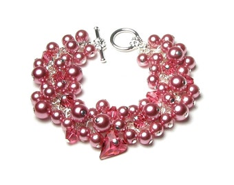 English Rose Garden Pink Swarovski Crystal & Pearl Cluster Silver Charm Bracelet, Indian Pink Wild Heart Charm, Romantic Jewelry for Women