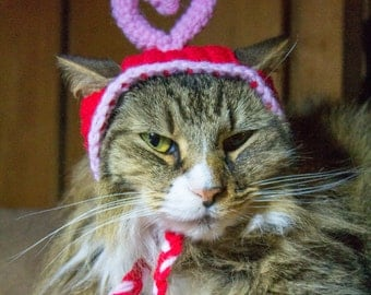 Valentine's Heart Hat Crochet Hat for Your Pet -- Cat, Small Dog, or Kitten, READY TO SHIP, Red & Pink Valentine Gift