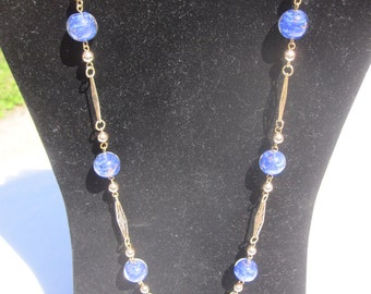 Blue Venetian Glass Bead Necklace