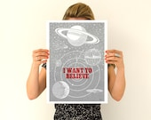 I want to believe- Space Wall Art- Art Giclee Print, UFO Illustration wall art, wall decor, Wall Hanging x files art, UFO Geek art WP104P