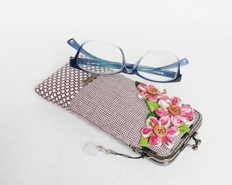 Beautiful Black Glasses Case, Eyeglass Case, Spectacle Case, Metal Frame Purse