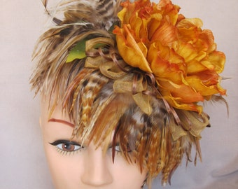 Open Orange Winter Peony Flower and Rooster Saddle Feather Fascinator