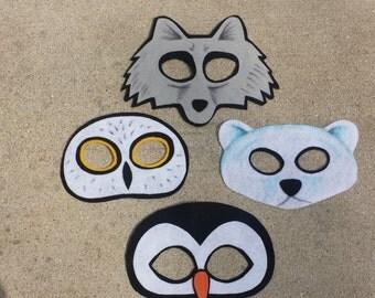 Arctic Adventure Pack of 4 Masks/ Penguine/ Owl/ Polar Bear/ Wolf
