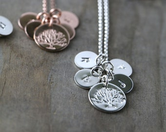 Family Tree Initial Necklace Jewelry, Personalized Mom, Custom Hand Stamped Jewelry Gifts for Mom, Mom Gift, Handmade Jewelry by Burnish