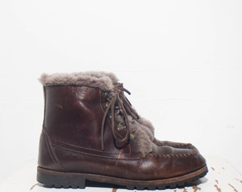 9 N | Women's Cole Haan Fleece Lined Brown Leather Ankle Boots