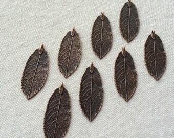 10 x Antique Copper Natural Leaf Pendant Charm Leaves Rustic Copper Necklace Charm Jewelry Making Leaf Charm Rustic Leaf Pendants