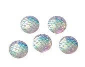 """12mm MERMAID FISH Scale Cabochons, Round Resin Metallic, Clear AB iridescent, 100 pieces, 1/2""""  cab0496b"""