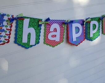 PJ Masks birthday banner, Happy Birthday banner, photo banner