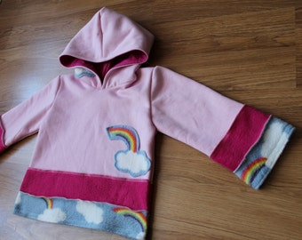Rainbow and Pink Hoodie Kids Childrens Jacket Coat Sweater