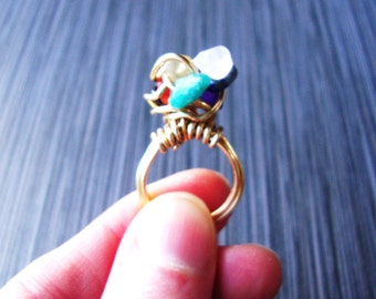Brass wire wrapped rustic chakra nest ring