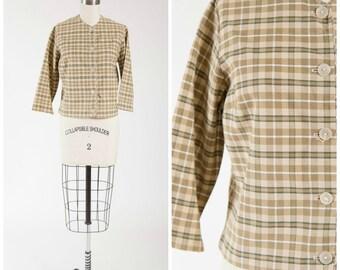Vintage 1950s Jacket • Especially You • Green Plaid Cotton 50s Cropped Jacket Size Medium