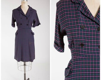 Vintage 1950s Dress • Afternoon Serenade • Blue Purple Plaid Cotton 50s Shirtwaist Day Dress Size Large