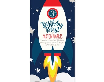 Birthday Blast Off Spaceship Invitations, Space, Ship, Invites, Birthday Boy, Explore Outer Space Rocket Ship