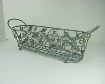 Vintage Sage SCROLL PLANTER Flower Garden RUSTIC Chippy Paint Metal Patina Patio Porch