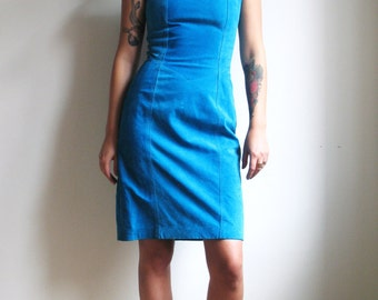 Vintage Suede Dress Blue 80s 90s Leather Dress Bodycon Cocktail Dress Wiggle Dress Shoulder Pads 80s Mini Dress Retro
