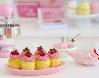 1:6 Scale Sweet Petite Play Scale Miniature Lemon and Strawberry Cupcakes on a Pink Serving Tray