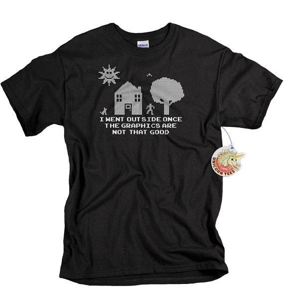 Christmas Gifts for Men and Teens Funny Geek T Shirt for Christmas I Went Outside Once The Graphics Aren't Great Shirt for Men Teen and Boys