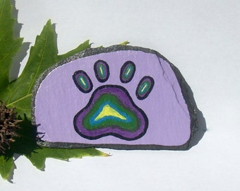 Paw Print, Pet Magnet, Handpainted Paw Print, TieDye Pawprint, Decorative Slate, Dog Paw Magnet, Pet Art, Pet Owner Gift, Fridge Magnet