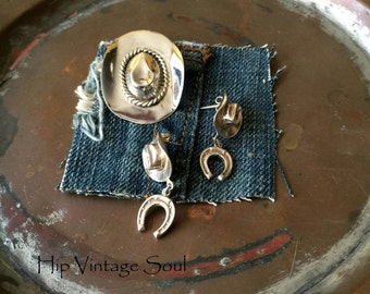 Vintage 1980's Sterling Silver Cowboy Hat Brooch and Earrings, Mexico 925, Cowgirl Jewelry, Country Western