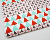 SALE Red Mint Triangle Fabric, Geometric Fabric, Modern Fabric, Quilting Fabric