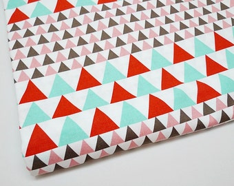 Red Mint Triangle Fabric, Geometric Fabric, Modern Fabric, Quilting Fabric