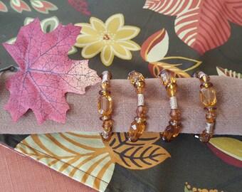 Amber Color Napkin Rings, Beaded Napkin Rings, Set of 4 Napkin Rings