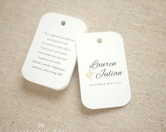 Sugared Almonds Personalized Gift Tags - Jordan Almond Favor Tags - Wedding Favor Tag - Wedding Bomboniere - Set of 24 (Item code: J549)