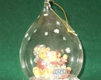 Teddy Bear Christmas Ornament Special Times Glass Teardrop Hand Painted Vintage Christmas Bears Inside Glass Bulb Christmas Decor