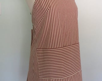 Red Ticking Apron, Japanese Apron Red and Cream Ticking Stripes Short or Long Length, Red Striped Apron, Server Apron, Restaurant Apron