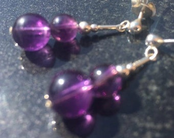 Amethyst Earrings, sterling silver and amethyst