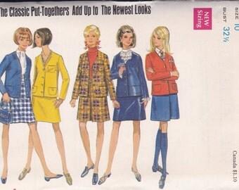 60s Jacket, Skirt & Pantskirt Pattern Butterick 5187 Size 10 Uncut
